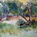 Sanoj patel  - village  - Water Color