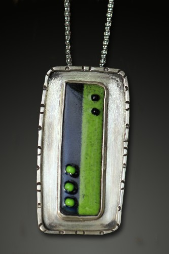 Black/Lime Dotted Pendant