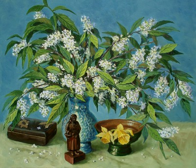 Arkady A. Zrazhevsky Bird cherry and narcissuses