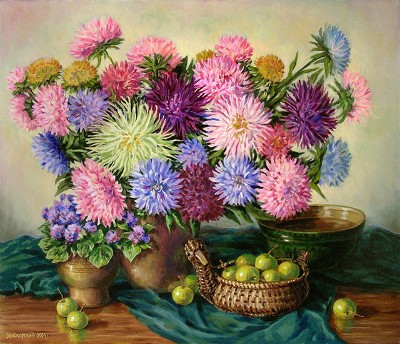 Arkady A. Zrazhevsky Asters and Chinese apples