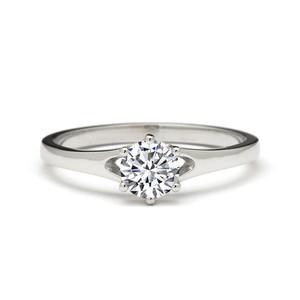 Romantic Classic 0.50 Carat Diamond Engagement Ring 18k White Gold