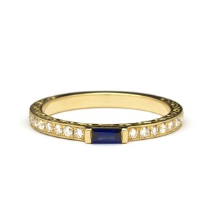 Hand Engarved Scrolls Baguette Sapphire Engagement Ring in Yellow Gold