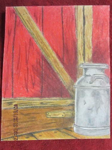 The Oil and Pencil on drawing paperOld Milk Jug