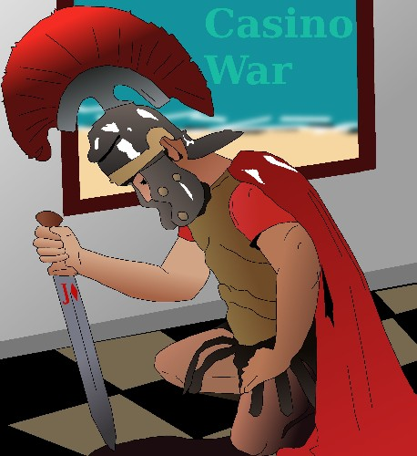 Knight in shining armor for casino war by casino artist