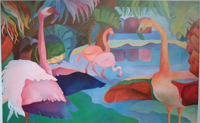 Cindia Sue Carlson-Tsuda Fantasy Flamingoes