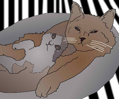 Clip Op Art Illusion Cats Chilling