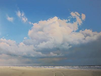 Beach With Cumulus Clouds