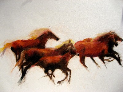 Jeanne Goodman Horses running right