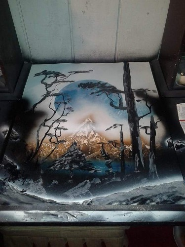 Jesse Leaf Wooden Peak spray paint art