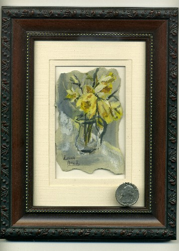 Leona A Amick Yellow Flowers-Mini Painting