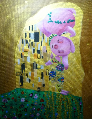 Pigglet - Kiss  (inofficial painting for the Klimt year 2012)