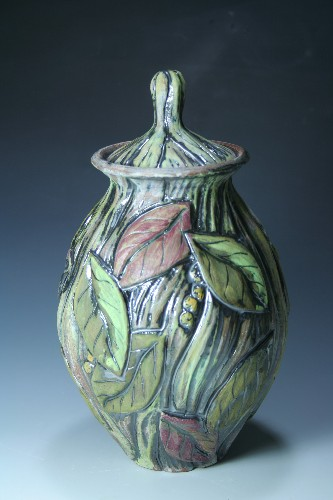 Nancy L Briggs Laurel Leaf Covered Jar