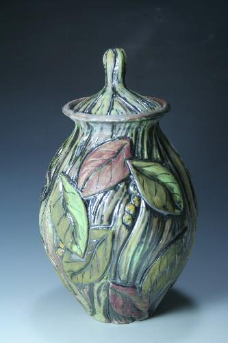 Laurel Leaf Covered Jar
