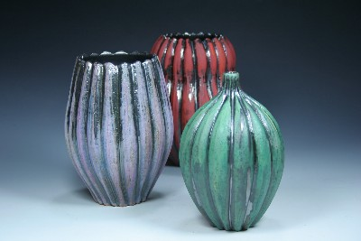 Trio of Carved Pots