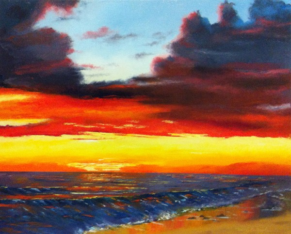 Nancy Tydings Bullough Stormy Sunset on The Gulf