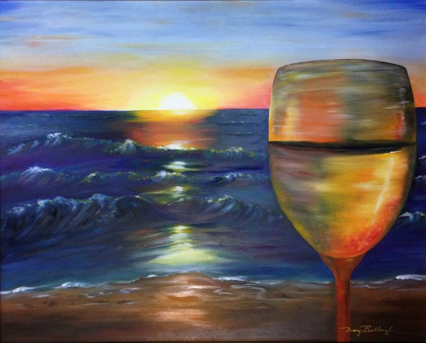 Nancy Tydings Bullough A Glass of Wine on Naples Beach