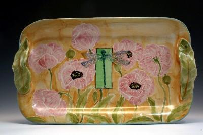 Pink Poppies & Dragonfly Medium Tray