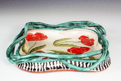 Poppies Square Tray w/ Vines