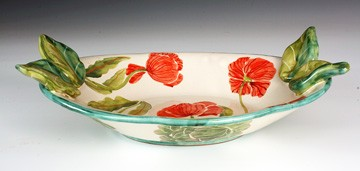 Lettuce & Poppies oval serving bowl