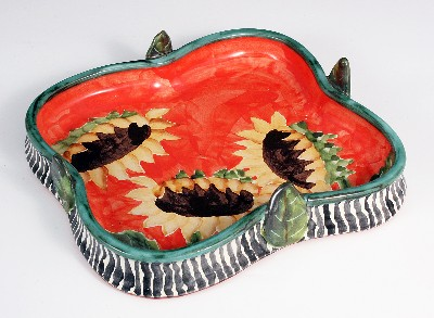 Sunflower Square Tray w/ Leaves