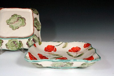 Square Bowl w/ Lettuce & Poppies