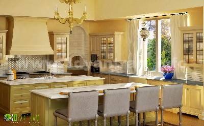3D Classical Kitchen Interior Design Beijing