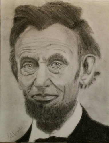 Abraham Lincoln hand drawing print