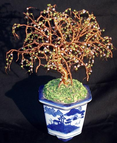 Beaded Bonsai Wire Tree Sculpture.