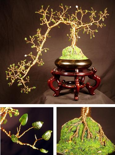 Jade Cascade #1. Wire Tree Sculpture