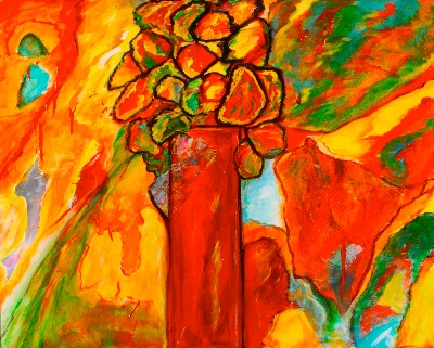 Teri Levine Orange Flowers by Teri Levine