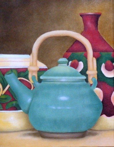 Terri Meyers Green Teapot