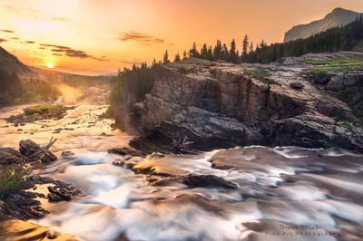 Summer Sunrise at Swiftcurrent Falls