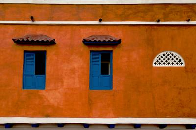 Colorful Wall in Cartagena, Colombia