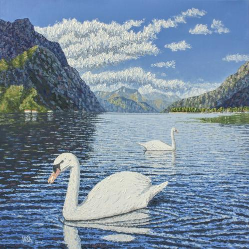 Two swans on lake Como