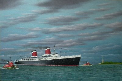 SS United States entering New York Harbor